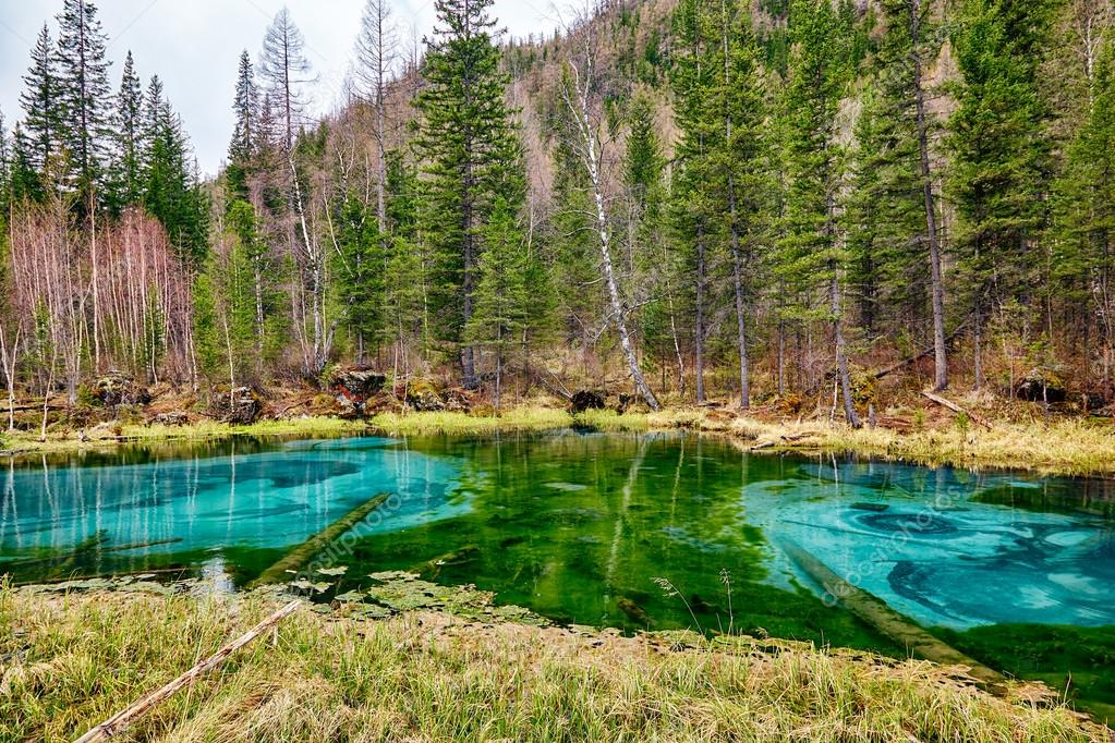 So-called blue geyser lake in Altay mountains
