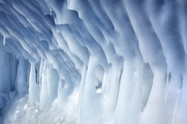 Icicles on the wall of ice cave