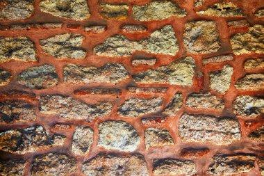 The sample of granite masonry with red mortar wall, Topkapi Palace, Istanbul, Turkey, stonework, interlayer, stock vector