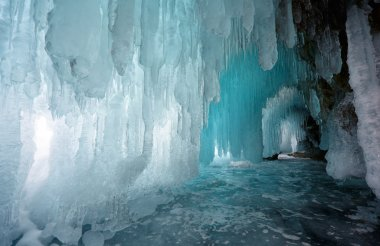 Ice cave on Olkhon island on Baikal lake in Siberia at winter time