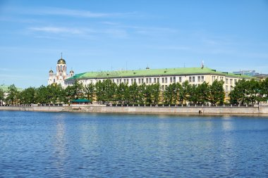 Ekaterinburg. Iset river embankment overlooking the complex of