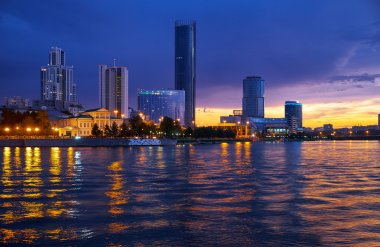 Yekaterinburg skyline at night time
