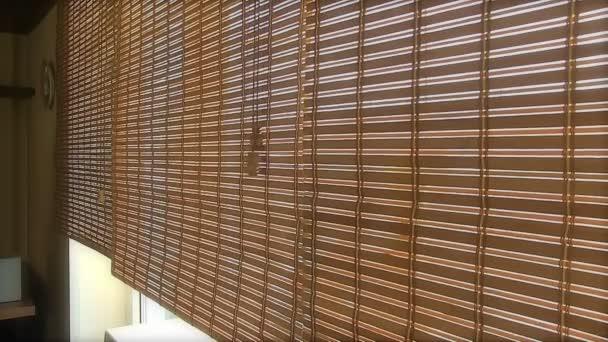 Frau In Der Nahe Von Fenster Mit Bambus Jalousien Stockvideo