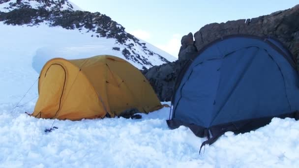 High-altitude camp in a snowy mountain
