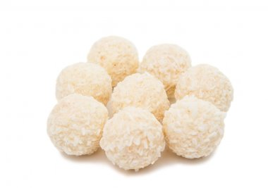 White Chocolate Candy With Coconut Topping