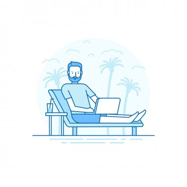 Vector illustration in flat linear style and blue colors - remot