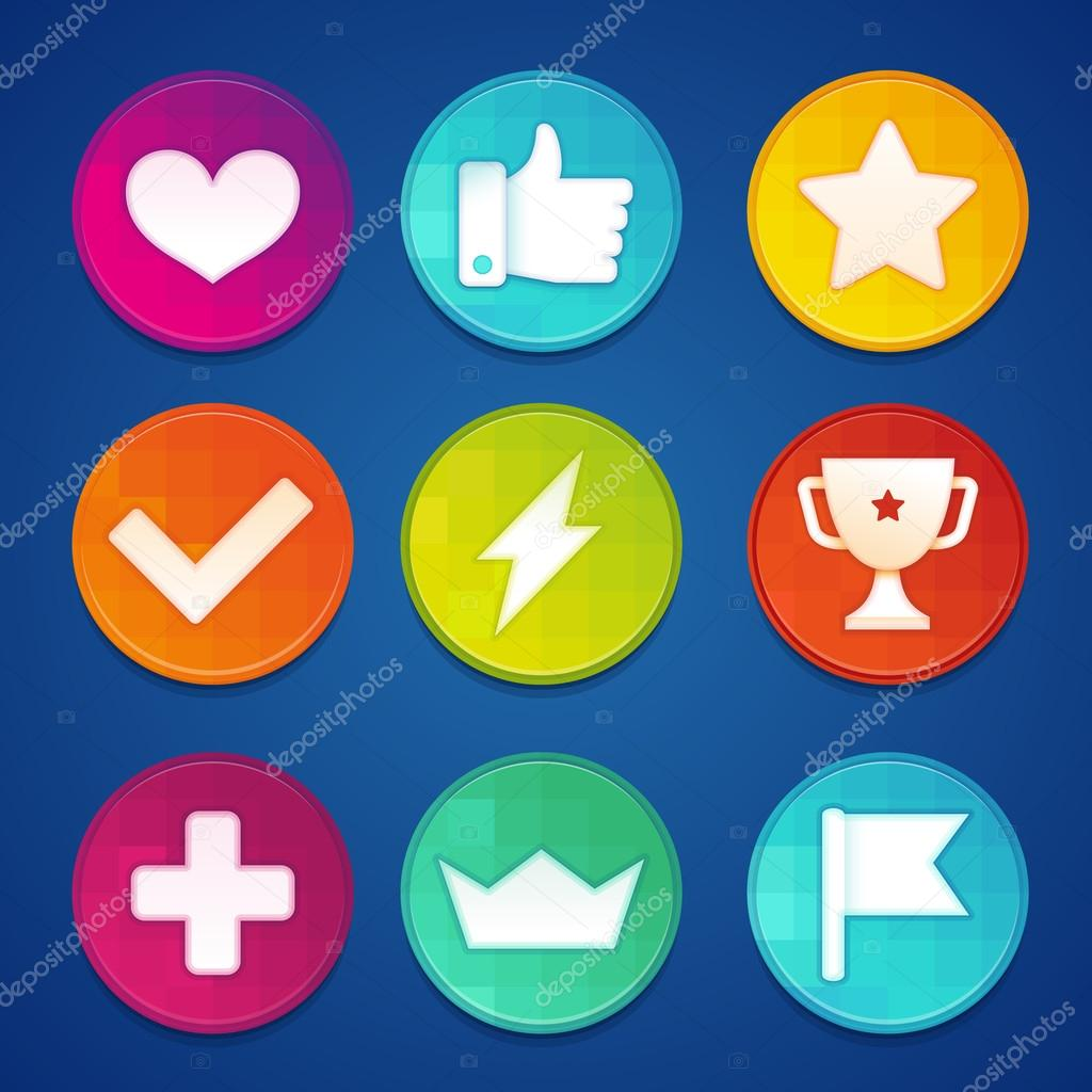 Vector gamification badges and coins
