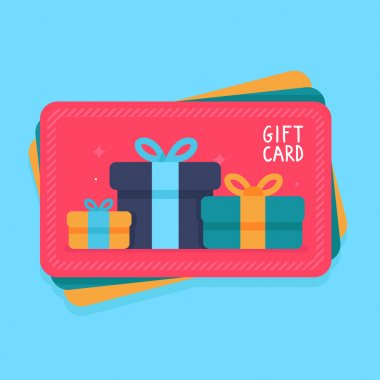 Vector gift card in flat style - shopping certificate with present icons clip art vector