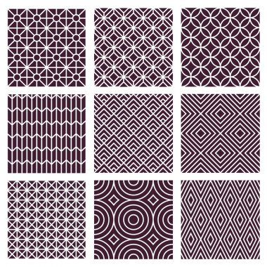 Vector seamless patterns set in trendy mono line style - 9 minimal and geometric textures stock vector