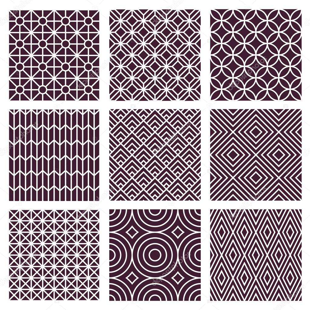 Vector seamless patterns in trendy mono line style