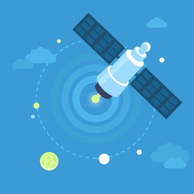 Vector satellite concept in flat style