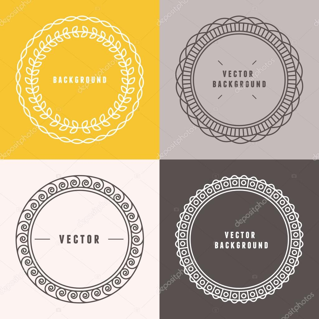 Vector set of outline design elements