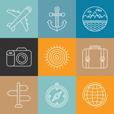 Vector travel logos and icons in outline style