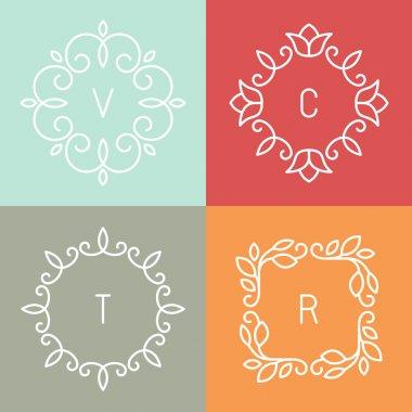 Vector floral outline frames