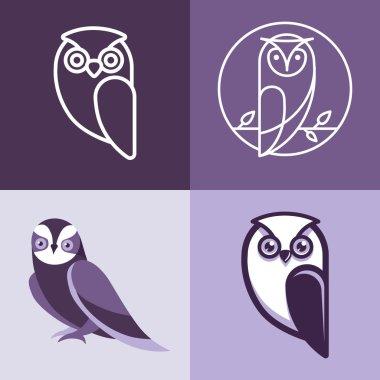 Set of owl logos and emblems
