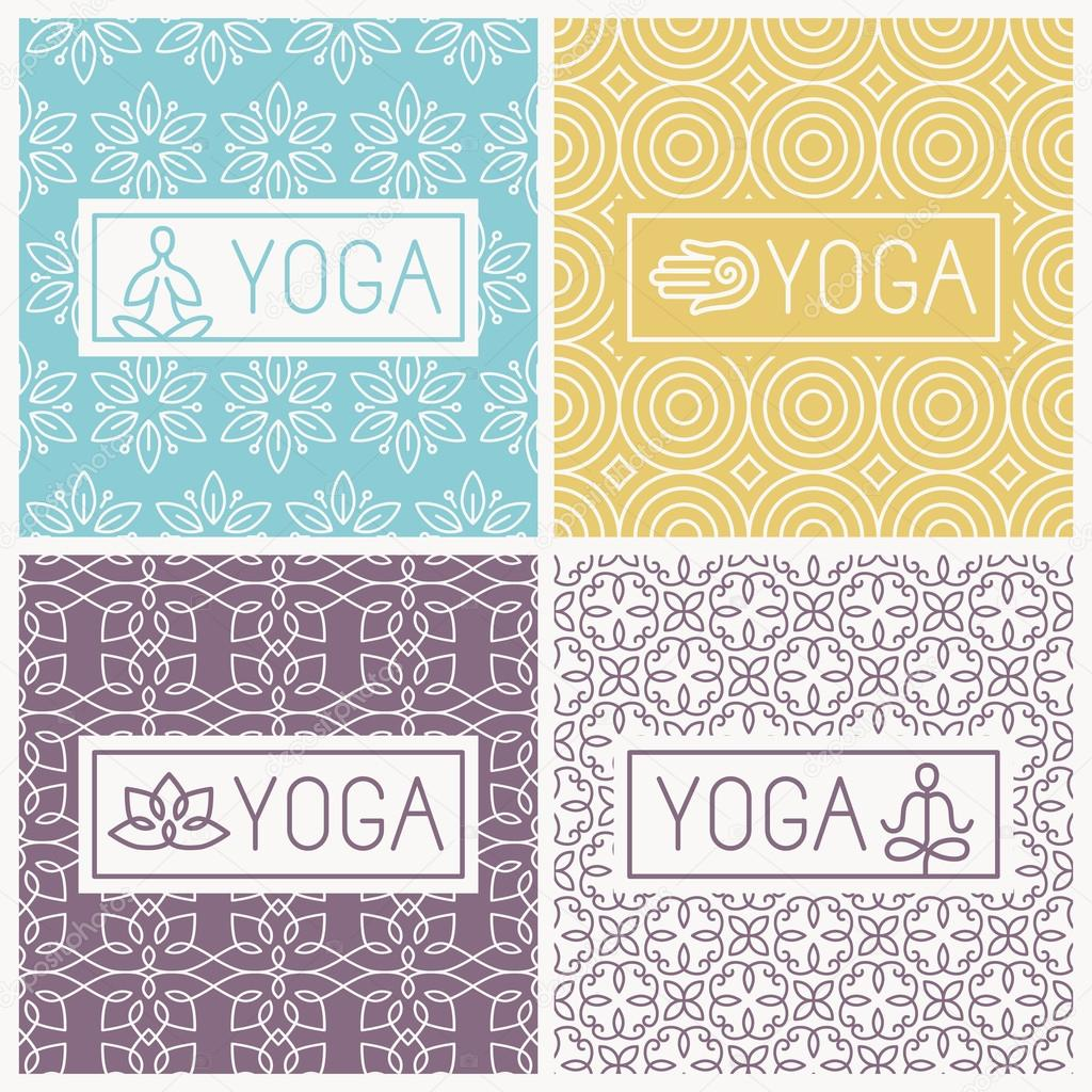 Vector yoga icons and line badges