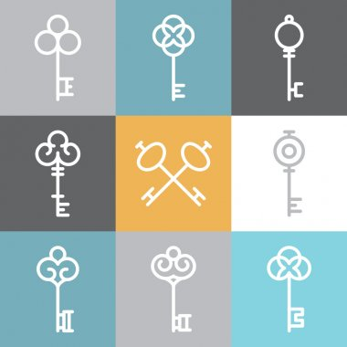 Vector key logos and signs in linear style