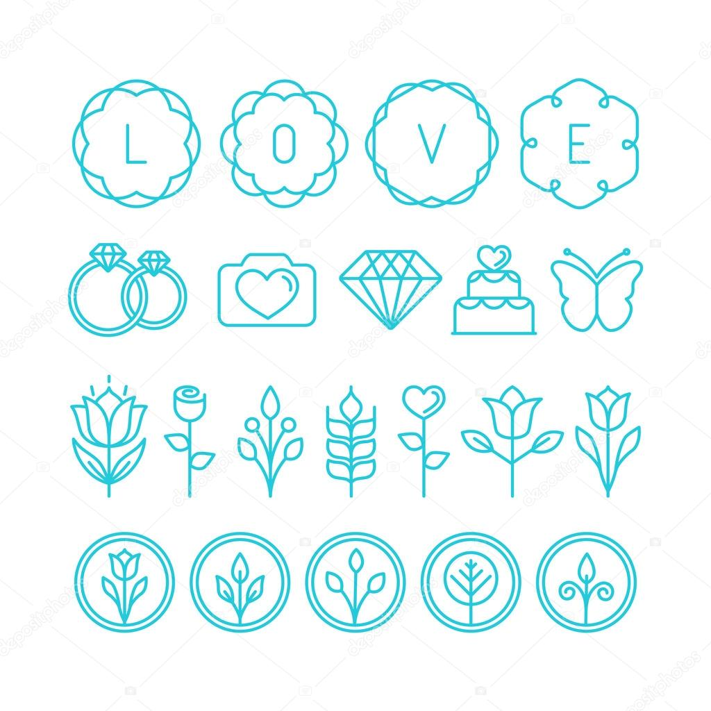 Vector love and wedding linear icons