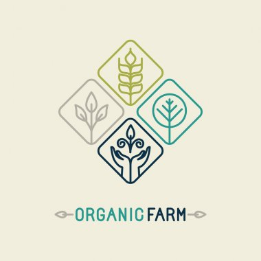 Vector agriculture and organic farm line logo