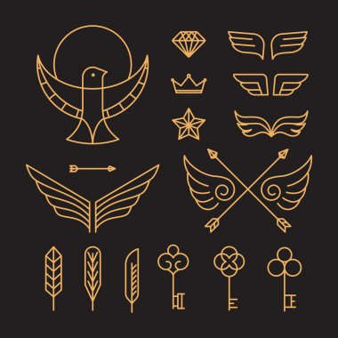 Vector set of outline hipster design elements