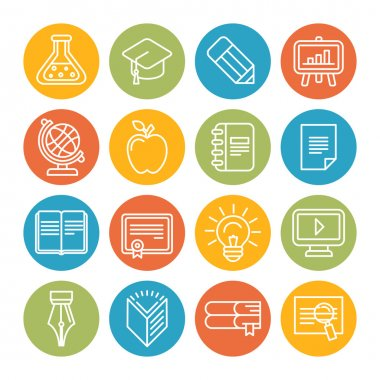 Vector linear educational icons and signs