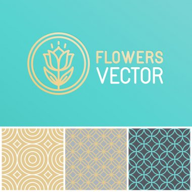 Vector floral logo design element and simple seamless pattern - golden foil icon on turquoise background stock vector