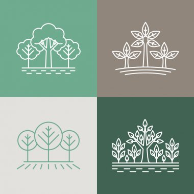 Vector trees and parks logo design elements in linear style - ab