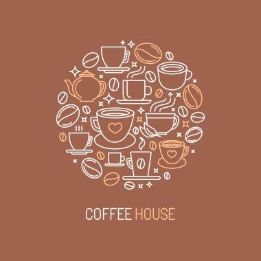 Vector coffee house logo concept