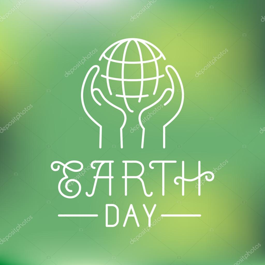 Vector earth day logo in linear style