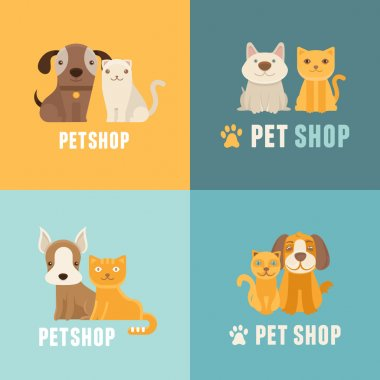 Vector pet shop logo design templates in flat cartoon style - friendly cats and dogs clip art vector