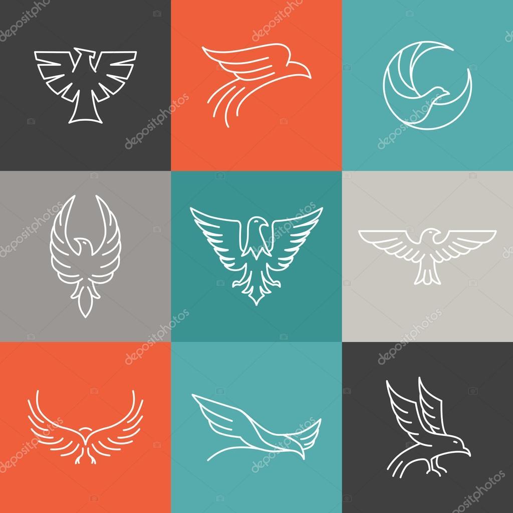 aquila e falco logos lineare vettore � vettoriali stock