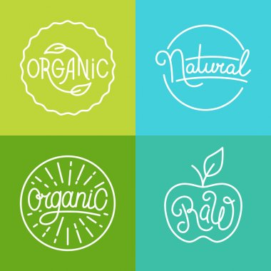 Vector labels in trendy mono line style - premium quality organi