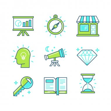 Vector set of linear icons in trendy style