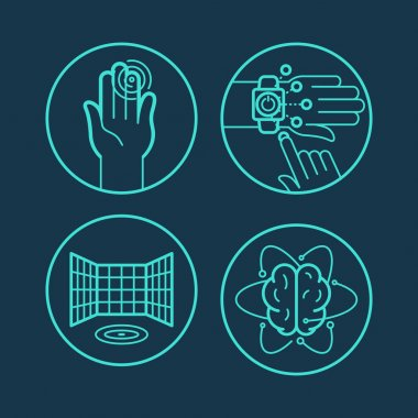 Vector concepts and icons in linear style