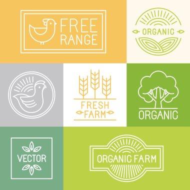 Vector fresh farm and free range labels