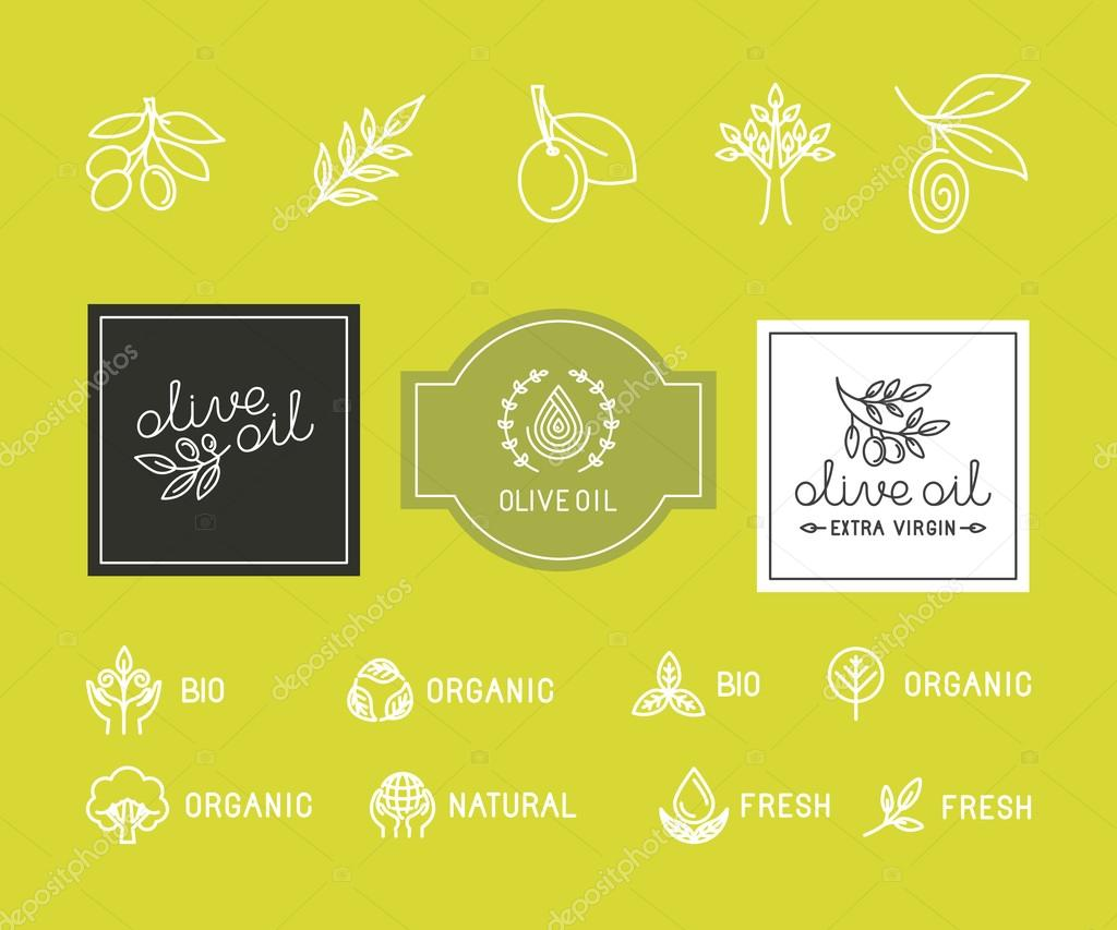 Vector packaging design elements and templates for olive oil labels ...
