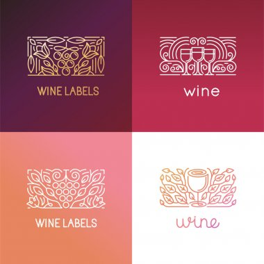 Vector set of logo design elements and signs for wine