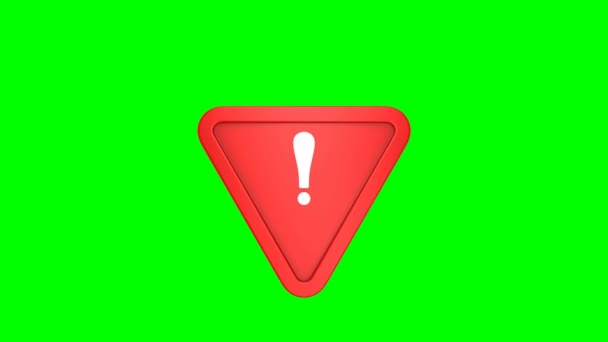 Red triangle and exclamation point on green background. Isolated 3D render