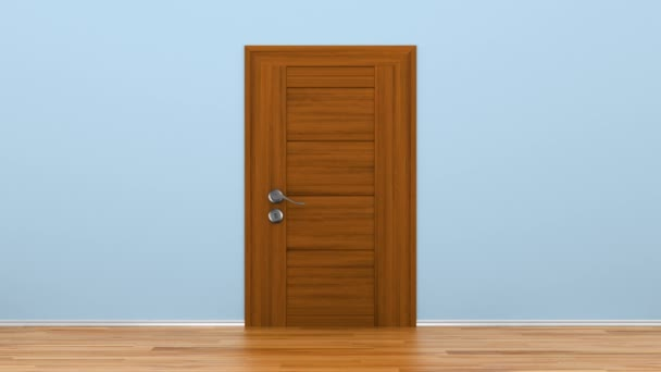 Nyíló fából készült ajtó fém fogantyúval