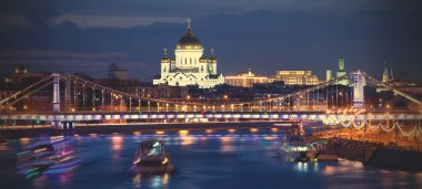 evening panorama of Moscow with view the Crimean bridge