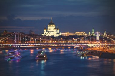 Night Moscow landscape with river