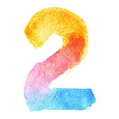 Photo Colorful watercolor numbers