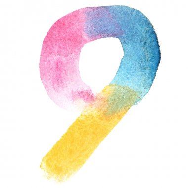 Colorful watercolor numbers