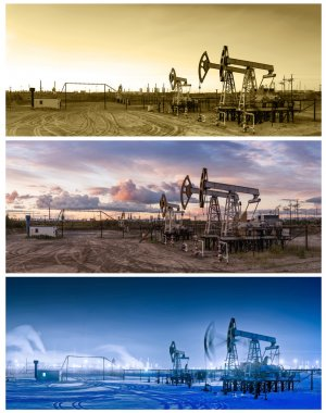 3 panoramas oil pumpjack.