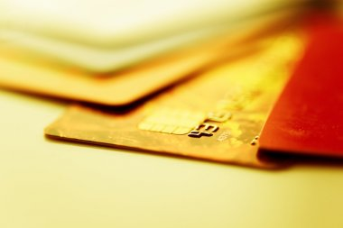 Credit cards in golden color