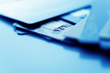 Credit cards in blue color