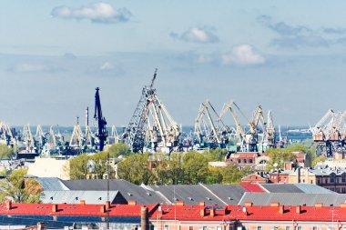 Saint Petersburg with port cranes