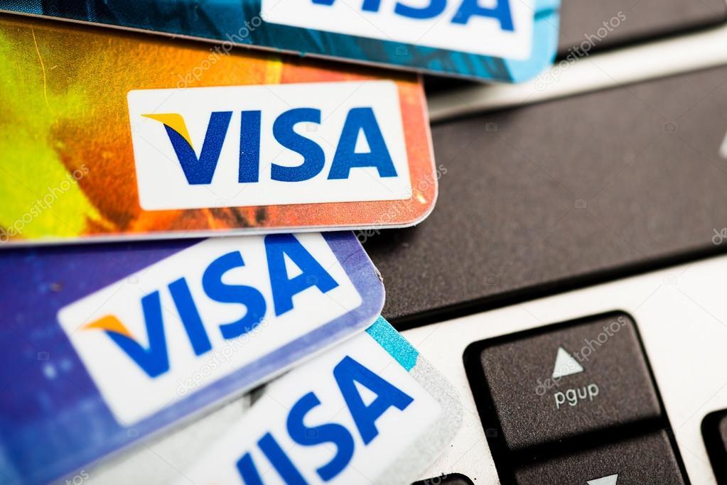 Karta Visa Na Klawiaturze Notebooka Zdjecie Stockowe Editorial