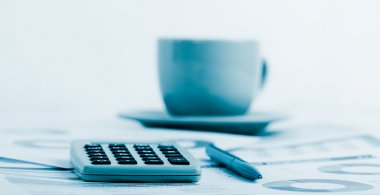 business workplace with financial reports