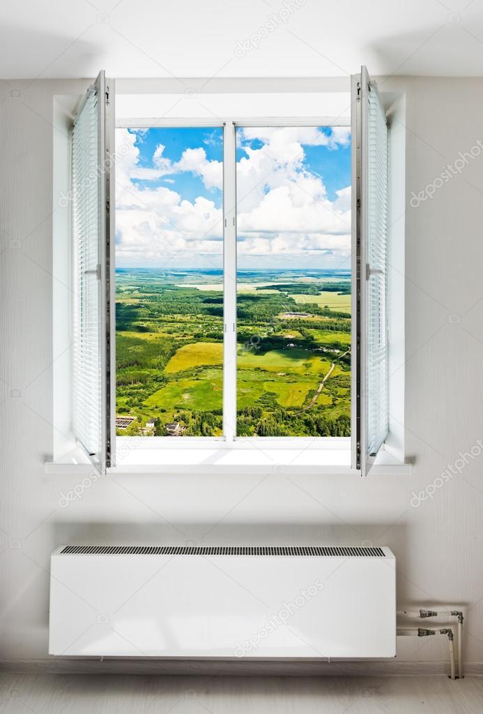 White open double door window